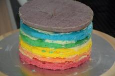 Regenbogenkuchen mit Ganache